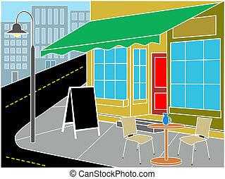 Restaurant entrance on street corner - Restaurant entrance...