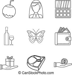 Restaurant evening icons set, outline style - Restaurant...