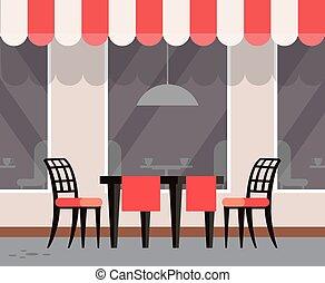 restaurant, extérieur, tables, café, terrasse