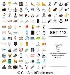 restaurant, finance, argent, bureau médical, illustration, set., parc, vecteur, intérieur, pirate, meubles, prison, icône