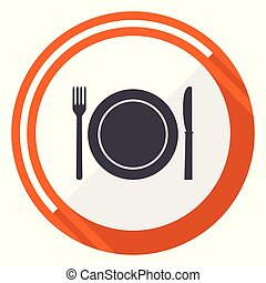 Restaurant flat design vector web icon. Round orange internet button isolated on white background.