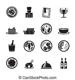 Restaurant, food and drink icons - Silhouette Restaurant,...
