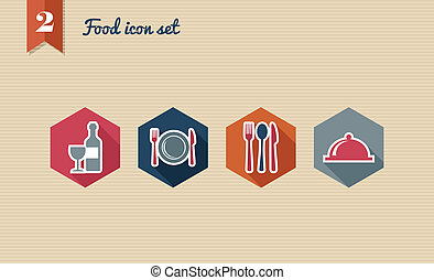 Restaurant food flat icons set.
