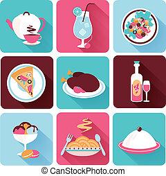 Restaurant Food Icons Flat