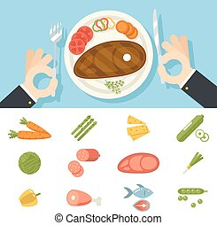 Restaurant Food Icons Meat Fish Vegetables Set Hands Cutlery Plate Fork and Knife oncept Symbol on Stylish Background Flat Design Vector Illustration