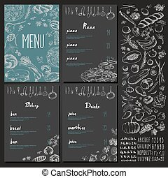 Restaurant Food Menu set Vintage Design with Chalkboard