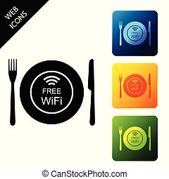 Restaurant Free Wi-Fi zone icon isolated on white background. Plate, fork and knife sign. Set icons colorful square buttons. Vector Illustration