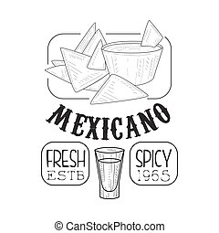 Restaurant Fresh Mexican Food Menu Promo Sign In Sketch ...