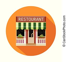 Restaurant front view flat icon, vector illustration