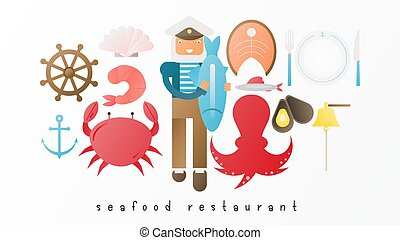 restaurant, fruits mer, ensemble, icône