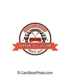 restaurant, fruits mer, sushi, japonaise, conception, écusson