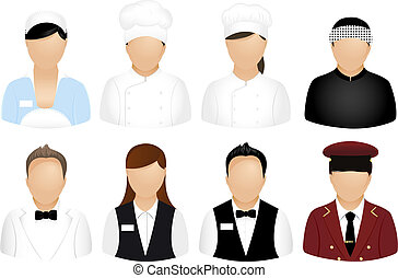 restaurant, gens, icônes