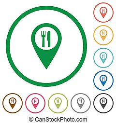 Restaurant GPS map location flat icons with outlines
