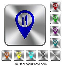 Restaurant GPS map location rounded square steel buttons