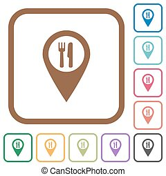 Restaurant GPS map location simple icons