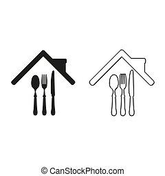 restaurant - green vector icon