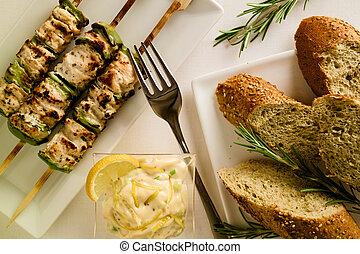 restaurant, grillé, monture, poivres, brochette, poulet