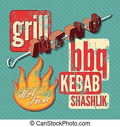 Restaurant grill menu typographic d