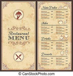 vintage vector restaurant menu template a classic restaurant menu