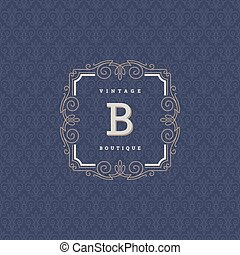 restaurant, hôtel, boutique, mode, magasin, elements., monogram, café, ornement, calligraphic, élégant, flourishes, héraldique, conception, gabarit, logo, magasin, etc., identité