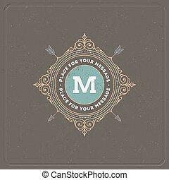 restaurant, hôtel, boutique, mode, magasin, elements., monogram, café, ornement, calligraphic, élégant, flourishes, héraldique, conception, gabarit, lettre, logo, magasin, etc., identité