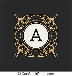 restaurant, hotel, juwelen, boutique, mal, monogram, fashion., vector, royalty, heraldisch, koffiehuis, luxe, brief, floral, logo