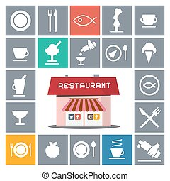 Restaurant House with Vector Flat Icons