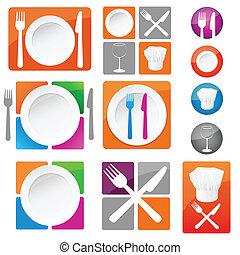 restaurant, icônes