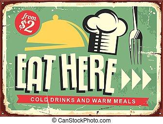 restaurant, ici, signe, conception, retro, manger