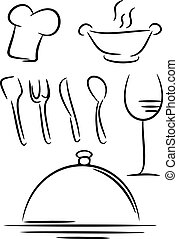 Restaurant icon, line drawing, vector illustration