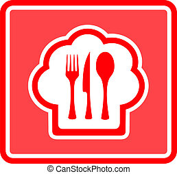 restaurant icon on red background - cook hat restaurant icon...