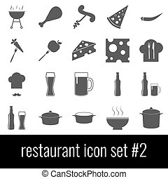 Restaurant. Icon set 2. Gray icons on white background.