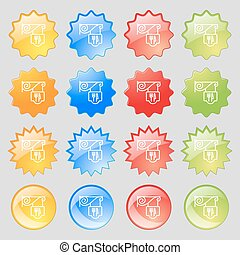 Restaurant icon sign. Big set of 16 colorful modern buttons for your design. Vector