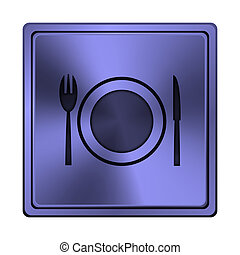 Restaurant icon - Square metallic icon with carved design on...