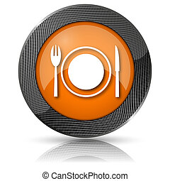 Restaurant icon - Shiny glossy icon with white design on...