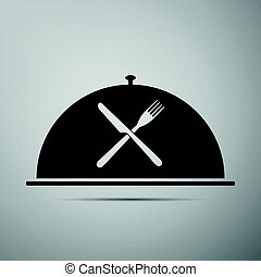 Restaurant icon with cloche and crossed fork and knife flat icon on grey background. Vector Illustration