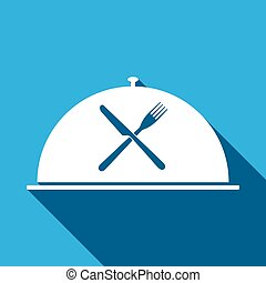 Restaurant icon with cloche and crossed fork and knife flat icon with long shadow. Vector Illustration