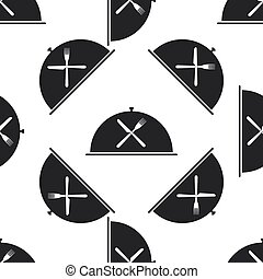 Restaurant icon with cloche and crossed fork, knife seamless pattern on white background. Vector Illustration