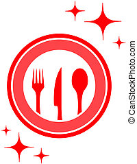 restaurant icon with kitchen ware - red isolated restaurant...
