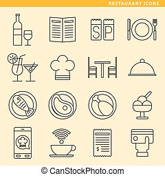 Restaurant icons - Set of sixteen restaurant icons for your...