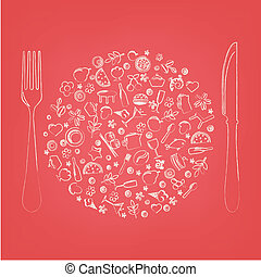 Restaurant Icons In Form Of Sphere
