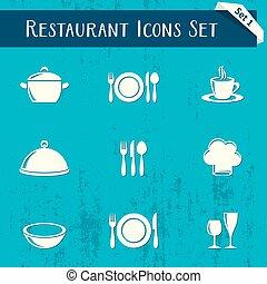 Restaurant icons retro collection