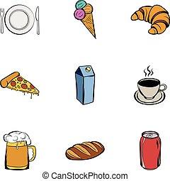 Restaurant icons set, cartoon style