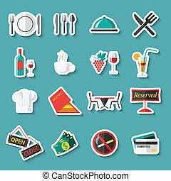 Restaurant icons stickers