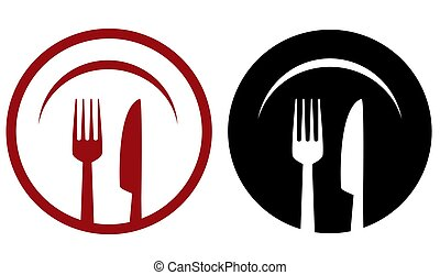 restaurant icons with plate, fork and knife