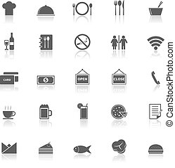 Restaurant icons with reflect on white background