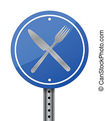 restaurant, illustration, signe
