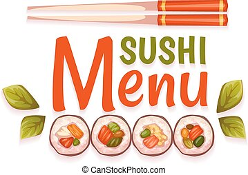 restaurant., ilustracja, sushi, menu, wektor