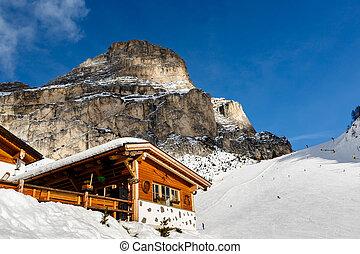 Restaurant in Mountains on the Skiing Resort of Colfosco, Alta Badia, Dolomites Alps, Italy