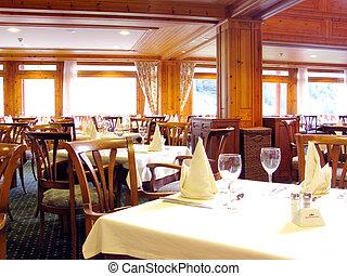Restaurant indoor - Tables set at empty restaurant, indoor